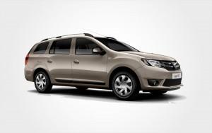 Dacia Logan in braun. Europeo Cars bietet einen günstigen Dacia Minibus mit 7 Sitzen zum Reservieren auf Kreta.
