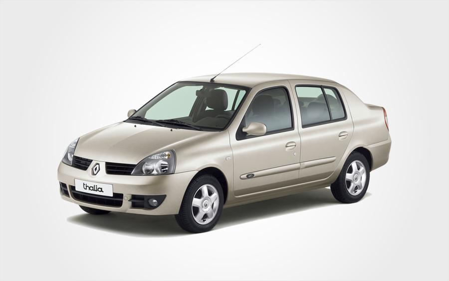 Beigefarbener Renault Thalia auf Kreta. Reserv. Sie ein Fahrzeug der Gruppe D bei Europeo Cars Fahrzeugvermietung.