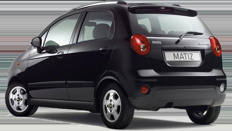Rückansicht eines Chevrolet Matiz. Nur 119 € pro Woche im Sonderangebot für einen Mietwagen der Gruppe A auf Kreta.