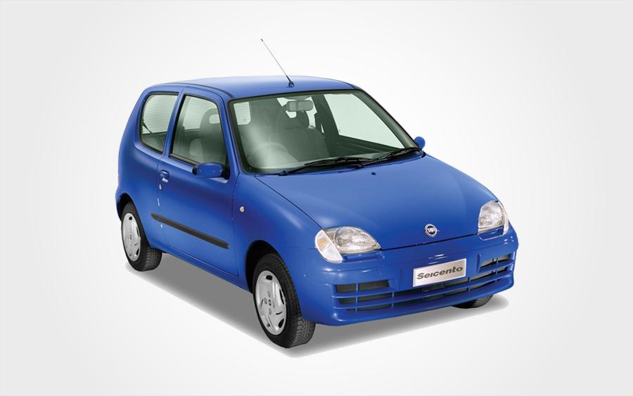 Blauer Fiat Seicento der Gruppe A zum Mieten auf Kreta. Günstiger, sparsamer Kleinwagen bei Europeo Cars