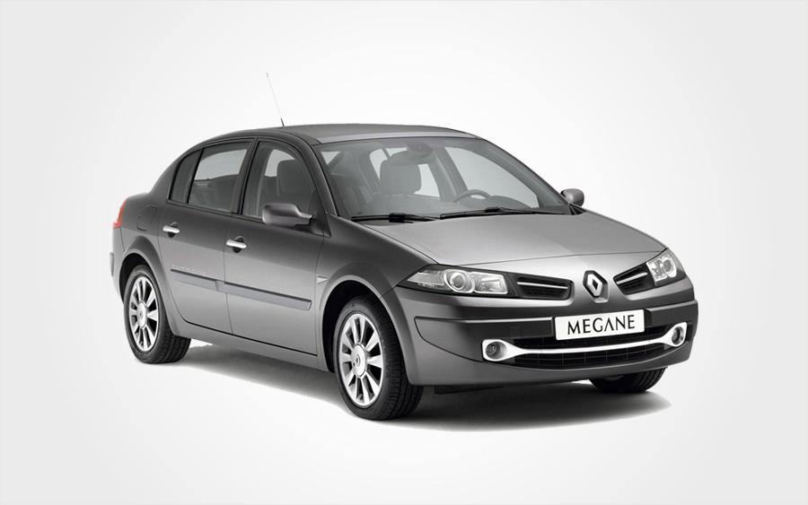 Berline Renault Mégane grise. Prix très bas pour réserver grosse voiture chez Europeo Cars en Crète.