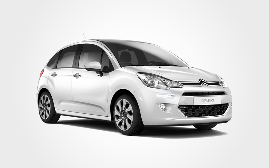 Citroën C3 blanche. Climatisation (groupe C manuelle), location agence Europeo Cars en Crète.