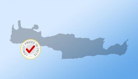 Mapa greckiej wyspy, Krety, z plakietką najniższych cen wynajmu samochodów w Europeo Cars.