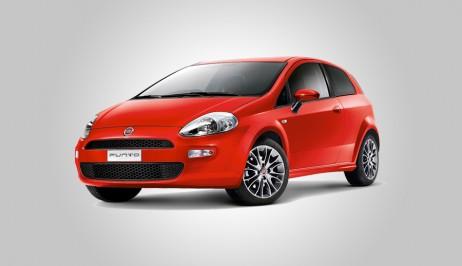 Czerwony Fiat Punto do wynajęcia w Europeo Cars. Wynajmij niedrogie auto na Krecie za niską cenę.
