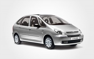 Silver Citroen Picasso. Reserve a Citroen Picasso station wagon from Europeo Cars Rentals in Crete