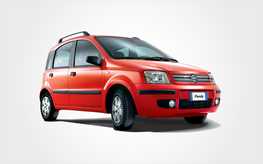 Fiat Panda rental car in red. Reserve a small group B car from Europeo Cars rentals in Crete.