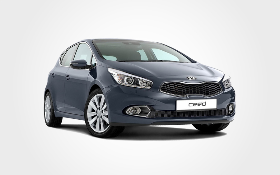 Europeo Cars dark blue Kia Ceed hatchback. Reserve a Group D Kia car in Crete for an economy price.