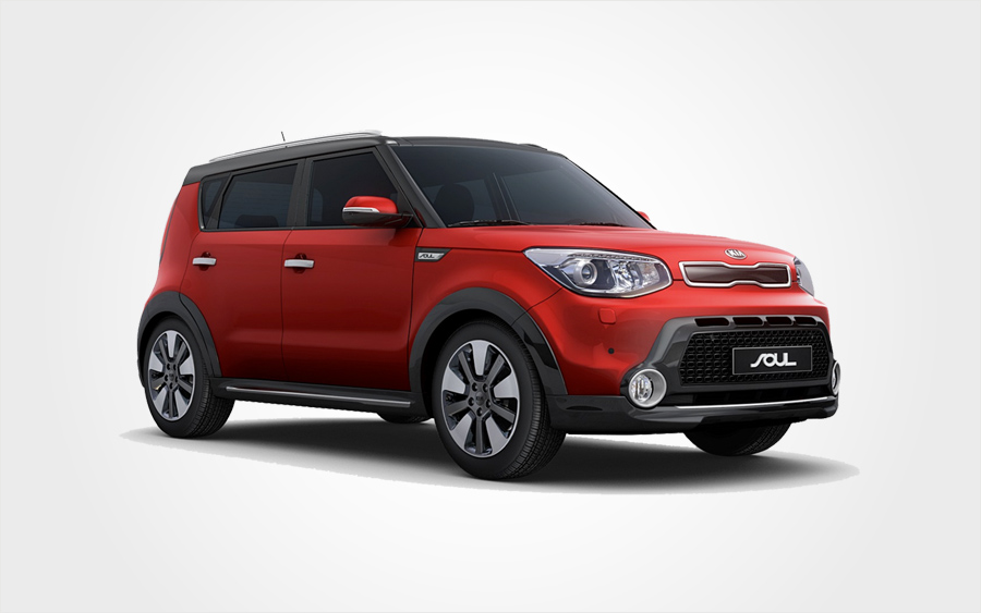 Kia Soul Group D car in red, offered by Europeo Cars. Reserve an economical Group D car in Crete.