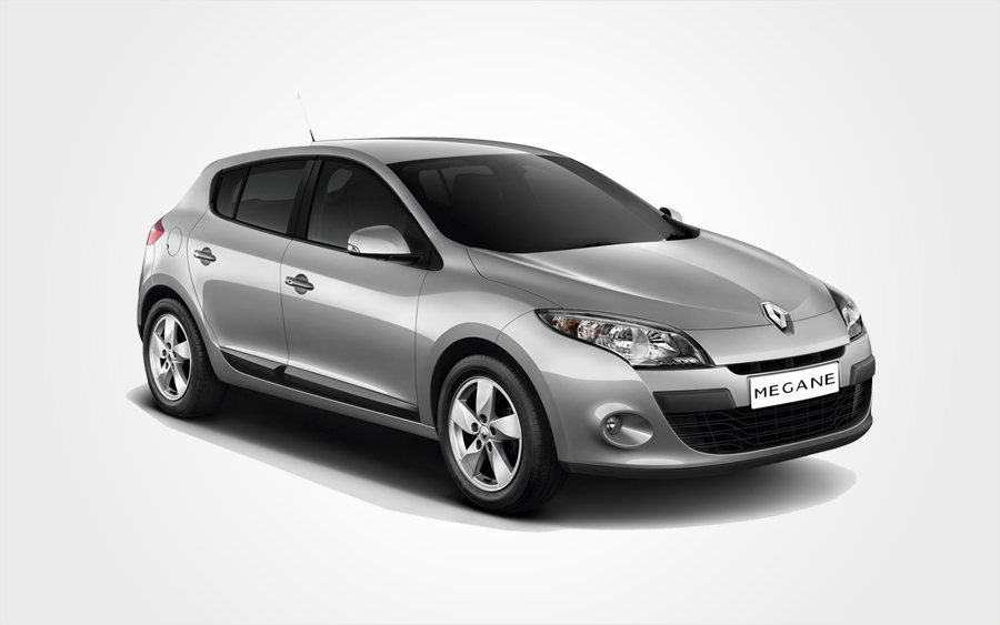 Grey Renault Megane hatchback from Europeo Cars. Reserve a Renault Group D rental car in Crete.