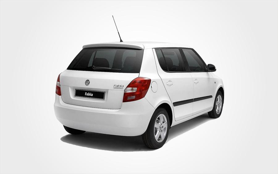 Rear of white Skoda Fabia. Choose Europeo Cars rentals to Reserve a Group C Fabia car in Crete.