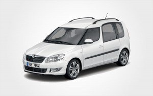 Reserve a White Skoda Roomster large car in Crete. Europeo Cars Rentals low price group E hire car.