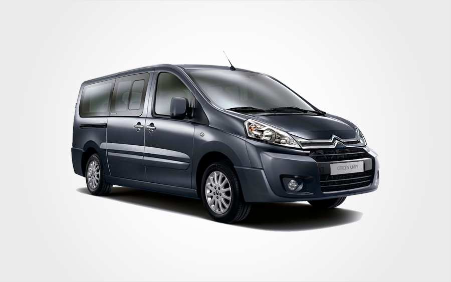 Citroen Jumpy van in grey. Reserve an economy Europeo Cars Rentals 9 seat Citroen Jumpy van in Crete
