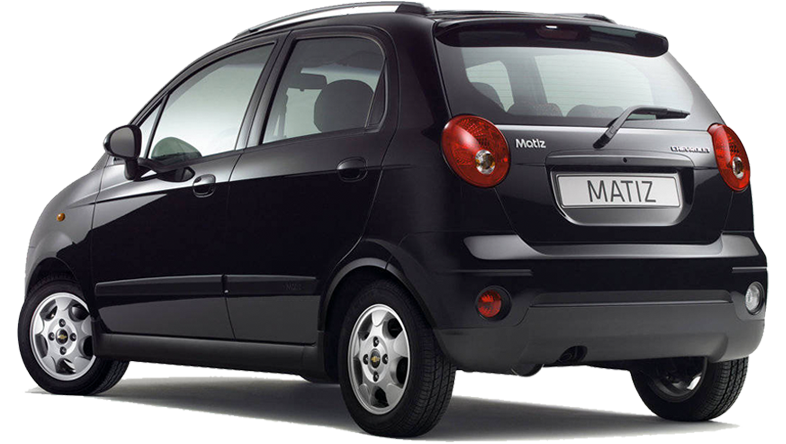 Rear view of Chevrolet Matiz hire car. €119 per week special offer to rent a Group A car in Crete.