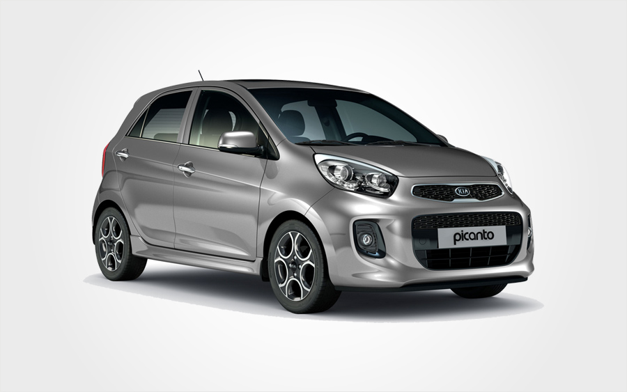 Grey Kia Picanto Group B rental car. Small car rental in Crete in Crete with a/c from Europeo Cars.