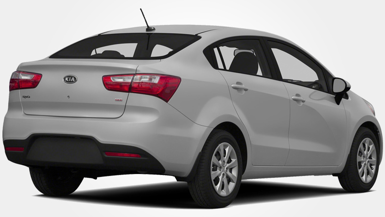 Rear view of Kia Rio sedan from Europeo Cars. Rent a Group D car in Crete for €160 per week offer.