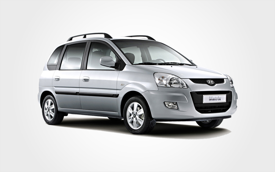 Silver Hyundai Matrix Group E hire car. Large car rental in Crete with a/c from Europeo Cars Rentals