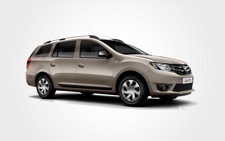 Brown Dacia Logan Group L hire car. 7 Seat mini bus rental in Crete from Europeo Cars Rentals.