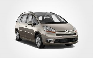 Citroen C4 Picasso in brown. Reserve an economy price Citroen MiniBus in Crete from Europeo Cars.