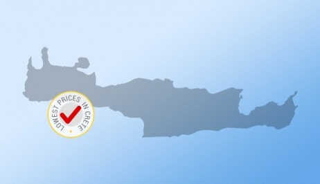 Map of the Greek island of Crete with lowest prices to rent a car in Crete badge from Europeo Cars.