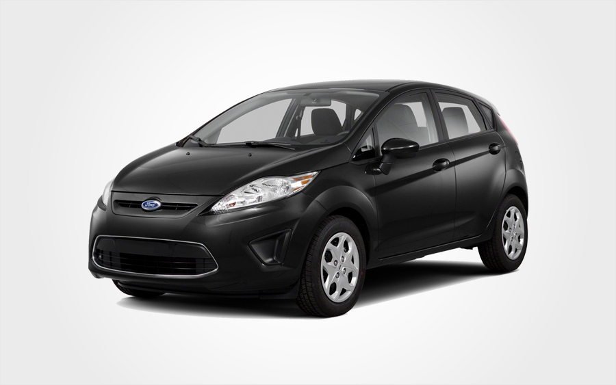 Black Ford Fiesta Group D car in Crete with a/c & manual transmission from Europeo Cars Rentals.
