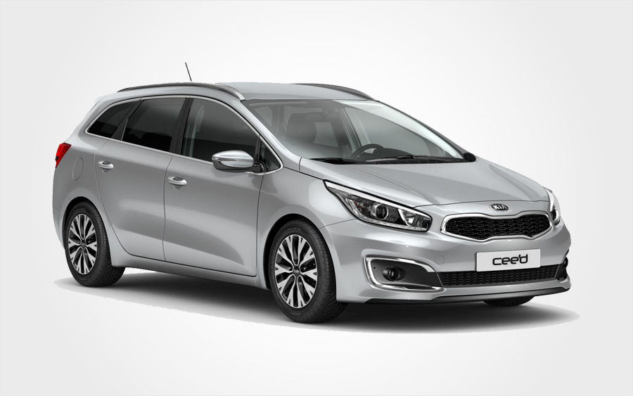 Silver Kia Ceed with a/c for hire. Rent a Group I Station Wagon from Europeo Cars in Crete.