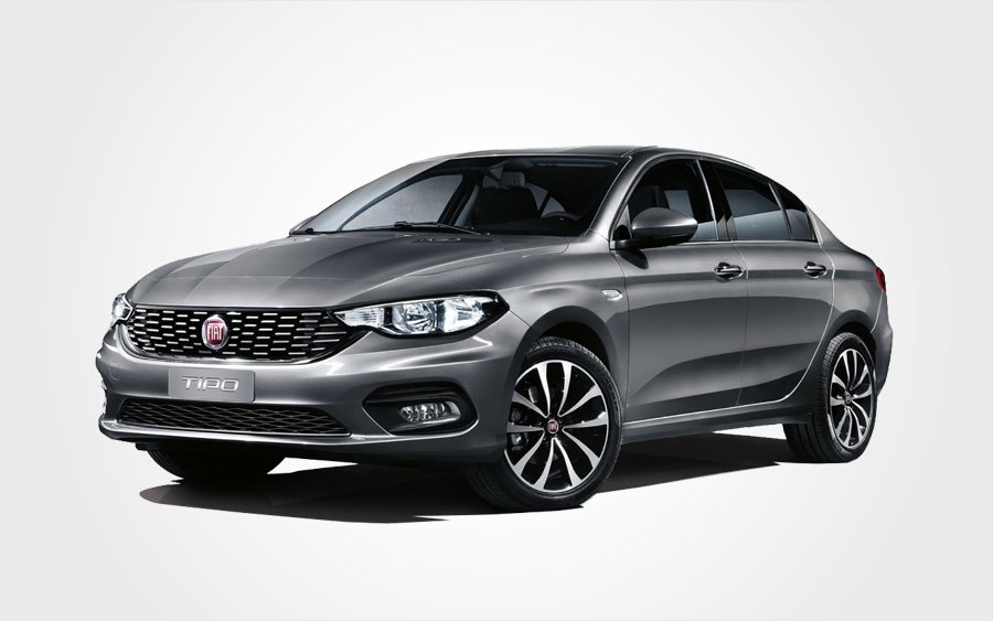 Fiat Tipo Sedan with air conditioning for hire. Rent a Group E Manual car from Europeo Cars in Crete