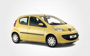 A yellow Peugeot 107 for hire. Reserve a Europeo Cars rentals Group A manual car in Crete.