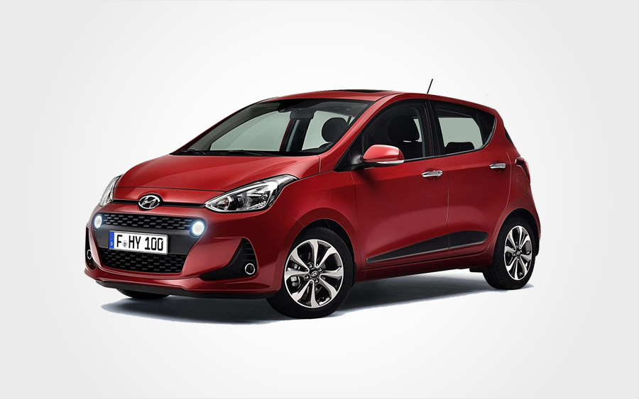 Hyundai i10 rental car in red. Reserve a Group B car from Europeo Cars rentals in Crete.