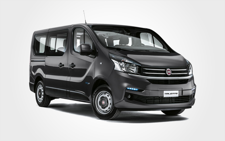 Blue Fiat Talento with 9 seats mini bus for hire. Rent a Group F Van with a/c from Europeo Cars.